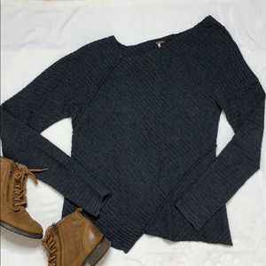 Free People Asymmetrical Ribbed Knit Sweater Gray
